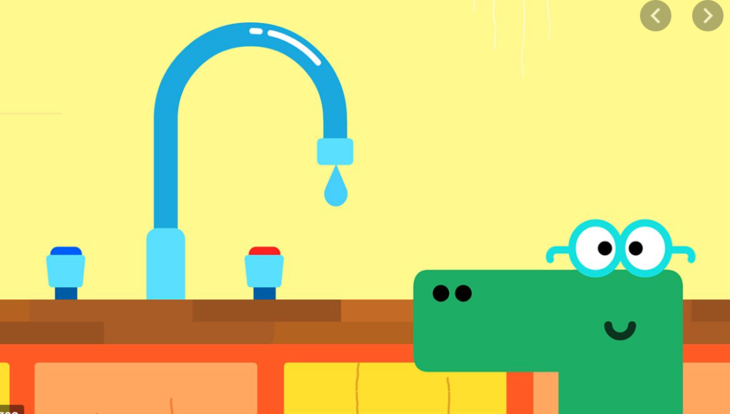 Happy, a character from Hey Duggee smiles at a dripping tap.